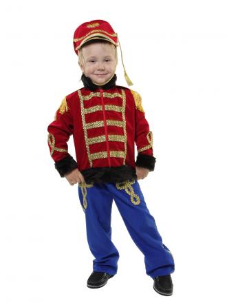 Карнавальный костюм Гусар Люкс с синими брюками детский для мальчика