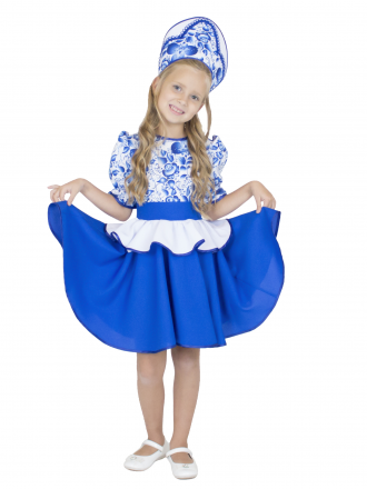 Карнавальный костюм Гжельский сувенир детский для девочек
