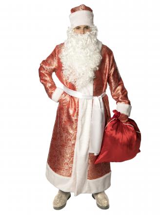 Карнавальный костюм Дед Мороз жаккардовый красный