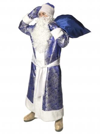 Карнавальный костюм Дед Мороз жаккардовый синий